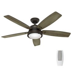 Use this fan for both fans in the living area.... Hunter Channelside 52 in. LED Outdoor Noble Bronze Ceiling Fan