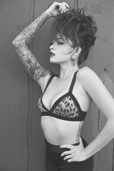 Black and White Tattoo Leopard Print Bra