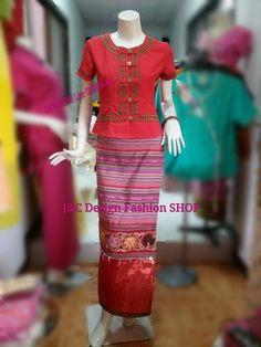 เสื้อผ้าไทยสีแดง เสื้อผ้าฝ้ายสวย เสื้อทำงาน เสื้อผ้าฝ้ายสีแดง แต่งกุ้นแถบ