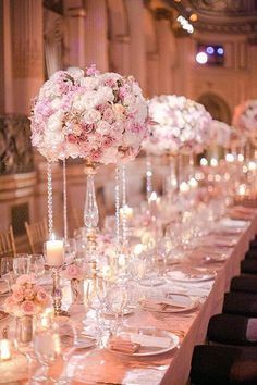 Fairytail Wedding: Roses & mercury glass pillar holders.