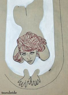 Meghan Willis - Milk (based on a photo of Kate Sweeney by Tsurufoto) embroidery & hand painted leather appliqué on linen