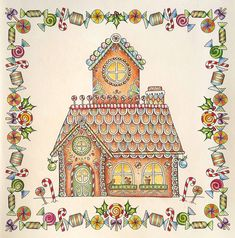 Returned to my #polychromos for this cute gingerbread house in #johannaschristmas  #johannabasford #christmas #coloring #adultcoloring #gingerbreadhouse