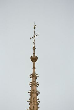 Le coq placé au sommet de la flèche contient, paraît-il, trois reliques : un morceau de la couronne d'épines du Christ, une relique de Saint-Denis et une de Sainte-Geneviève. Nore Dame de Paris
