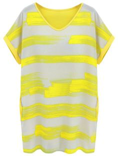 Gelbes lockeres figurbetontes gestreiftes kurzarm-Kleid  EUR€9.82