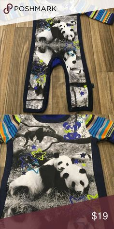Baby panda striped one piece NEW!!!!! check out my other baby boy items and if you would like me to make you a bundle of 2 or more I will make a listing with a discounted price if anything has been worn it had been washed and hung dried!!!! One Pieces Bodysuits