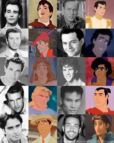 All the disney princes and their voice actors.  Some are just as handsome as their characters!