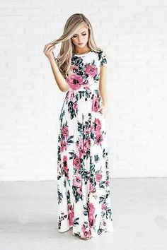 4435fdcd3 Floral Print Short Sleeve Maxi Dress - D2C Shop Long Summer Dresses, Long  Dresses,