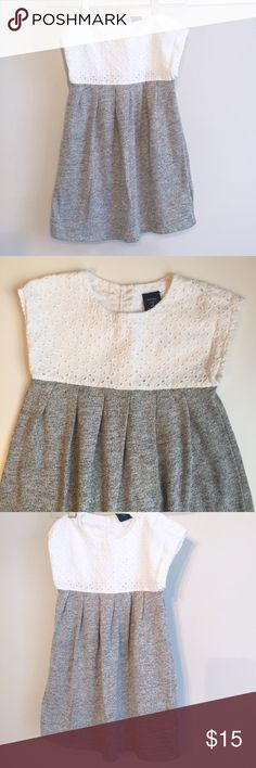 BabyGap Eyelet top dress 4T BabyGap Eyelet top dress. Size 4T. White Eyelet top with sweat material grey bottom. Excellent condition. GAP Dresses Casual