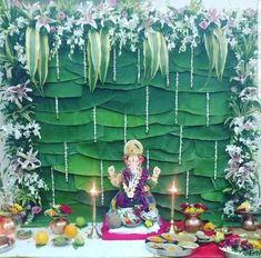Ganpati Decoration Theme, Ganapati Decoration, Diwali Decorations, Flower Decorations, Ganesh Chaturthi Decoration, Ganpati Festival, Backyard Wedding Decorations, Pooja Mandir, Ganesh Idol