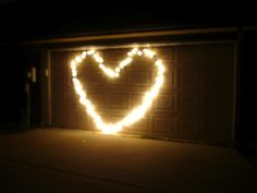 my husband made a heart from christmas lights on the garage door. :)