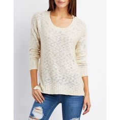 Charlotte Russe Slub Knit Scoop Neck Sweater ($23) ❤ liked on Polyvore featuring tops, sweaters, dew, white knit sweater, white tops, white sweaters, white long sleeve sweater and slouchy knit sweater