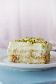 Bread pudding made with custard, pistachio, and orange blossom water