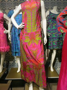 Liberty in Fashion exhibition at the Fashion & Textile Museum, Bermondsey, London 2015. The maxi dress in the middle is a late 1960s Colin Glascoe (London designer) dress.