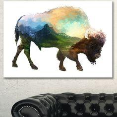 Designart 'Bison Double Exposure Illustration' Animal Canvas Wall Art Print