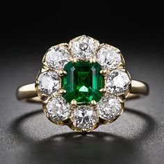 Antique Emerald and Diamond Ring - 30-1-5322 - Lang Antiques