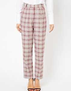 Image 4 of ASOS Straight Leg Trousers in Check