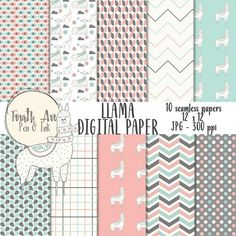Llama themed digital paper with coordinating patterns.