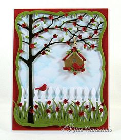 My project today combines several different dies to create a cheery framed tree and birdhouse scene. I have created several similar scenes using the Orchard Tree Frame and I always have so much fun with it. Handmade Birthday Cards, Greeting Cards Handmade, Memory Box Cards, Poinsettia Cards, Images Vintage, Window Cards, Accesorios Casual, Bird Cards, Marianne Design