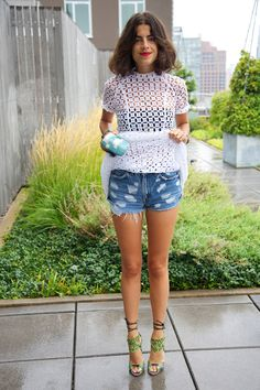 Five Days of Denim Cut-Offs | Man Repeller - Simone Rocha dress and Brian Atwood heels