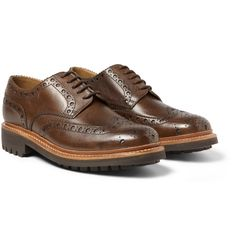 Grenson Archie Textured-Leather Wingtip Brogues | MR PORTER