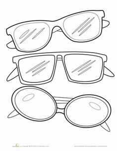 Kindergarten Coloring Worksheets Sunglasses Page