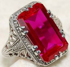 Red Ruby 925 Solid Sterling Silver Art Nouveau Filigree Ring Sz 6 #OLDENGLISHSILVER