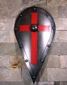 Medieval-Knight-Shield-Handcrafted-Metal-Iron-Red-Cross