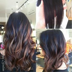 Full head of balayage highlights to create a soft blended Ombre'. Hair by Danni Sjoden at Phoebe Therese Salon in Denver, Co.