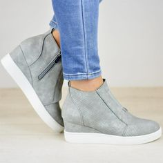 23e6176472 Eyelets Wedges Faux Leather Inner Height Zipper Booties – Sandkini Wedge  Shoes, Wedge Sneakers Style