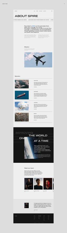 Spire Global, Inc. is a space-to-cloud data and analytics company that specializes in the tracking of global data sets powered by a large constellation of nanosatellites, such as the tracking of maritime, aviation and weather patterns. Web Design Awards, Ui Ux Design, Page Design, Graphic Design, Cloud Data, Web Inspiration, Signage, Photoshop, Layout