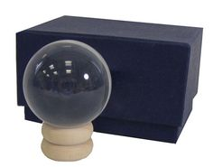 Crystal Ball  40 mm   With Wooden Stand and by SevernBlackFeathers