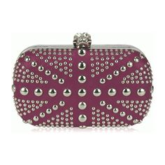 Love The Look Studded Clutch Bag With Crystal Skull Clasp Purple... ($40) ❤ liked on Polyvore