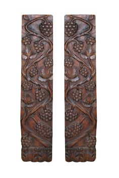 """Pair of French carved wood harvest plaques.  This bas-relief motif of grape vines beautifully depicts the French harvest. CIRCA: 1890 DIMENSIONS: 37"""" h x 7"""" w x 1.5"""" d PRICE: $750"""