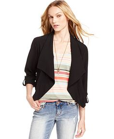 American Rag Draped Open-Front Blazer - Juniors Jackets & Vests - Macy's