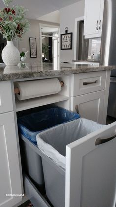 Love this kitchen storage idea. Garbage, recycling, and paper towels neatly tuck. - Love this kitchen storage idea. Garbage, recycling, and paper towels neatly tucked away… - Stockholm Design, Diy Wooden Projects, Cocina Diy, Hidden Storage, Garbage Storage, Cuisines Design, Beautiful Kitchens, Rustic Kitchen, Kitchen Country