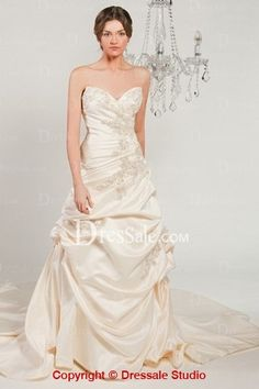 Cute Champagne Satin Cheap Maternity Wedding Gowns  Features Scalloped Bodice and Brilliant Applique Detail