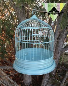 Vintage Metal Bird Cage Soft Minty Seafoam by FruitbatCollections, $75.00