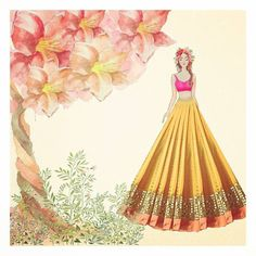 Abhinav Mishra Sister of the Bride Lehengas from his latest collection sitara is for anybody who loves pastel lehengas with a hint of glitter. Dress Design Drawing, Dress Design Sketches, Fashion Design Sketchbook, Fashion Design Portfolio, Fashion Design Drawings, Fashion Sketches, Fashion Drawing Dresses, Fashion Illustration Dresses, Dress Illustration