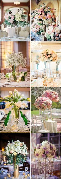 Tall center piece ideas! With a selection of different types of vase ideas