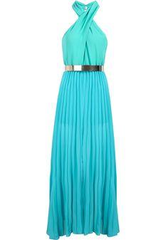 Blue Halter Sleeveless Pleated Chiffon Dress