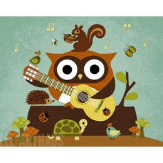'Retro Owl with Guitar and Friends' by Lee Arthaus