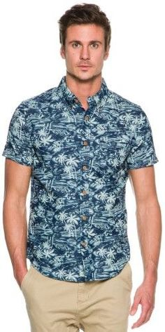 3e22b11f5d9a Deus Ex Machina Men s Albie Hawaiian Ss Shirt Short Sleeve Blue