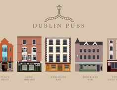 We love this Dublin Pubs illustration! What's your favourite spot!I bought a set of these while in Dublin. Dublin Pubs, European Honeymoons, Grafton Street, Emerald Isle, Future Travel, Vintage Travel Posters, Ireland Travel, Illustrations, Travel Advice