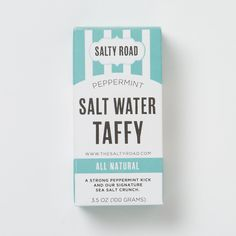 Salt Water Taffy Salt Water Taffy, Salt And Water, Brand Packaging, Packaging Design, Pretty Packaging, Graphic Design Typography, Retro Design, Design Crafts, Peppermint