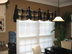 Pate Meadows Silk block plaid pleated with finials valance by Tracy Cooke