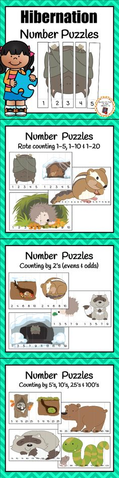 Your kindergartners or first grade students will enjoy working on number order and skip counting during your hibernation unit with these engaging number puzzles!
