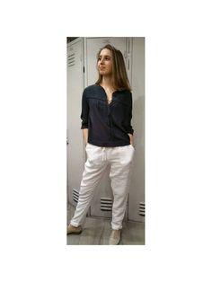 Pantalon 100% lin blanc harris wilson ,deux poches sur le coté,taille élastique