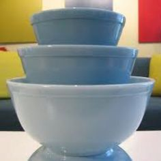 Pyrex - I have these but my large one is yellow and I have two medium size green ones and a small light green one.  Love them all.