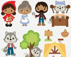 Little Red Riding Hood clipart, Wolf clipart, cute woodland, boy and girl woodland theme, fairytale clip art - Commercial use - Cinderella Party Supplies, Wolf Clipart, Character Cupcakes, Valentines Day Clipart, Rainbow Clipart, Woodland Party, Woodland Nursery, Halloween Clipart, Clip Art
