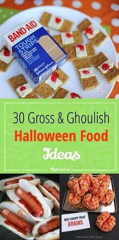 30 Gross and Ghoulish Halloween Food Ideas- halloween desserts Halloween Desserts, Gross Halloween Foods, Halloween Food For Party, Halloween Cookies, Halloween Treats, Diy Halloween, Vintage Halloween, Haunted Halloween, Halloween Hotdogs